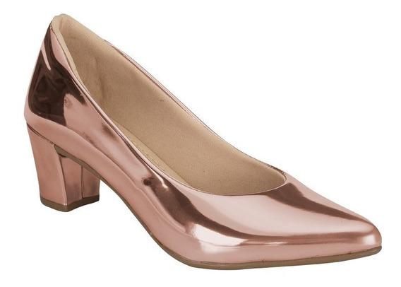 Sapato Feminino Scarpin Salto Grosso | Preto Cobra Onça |