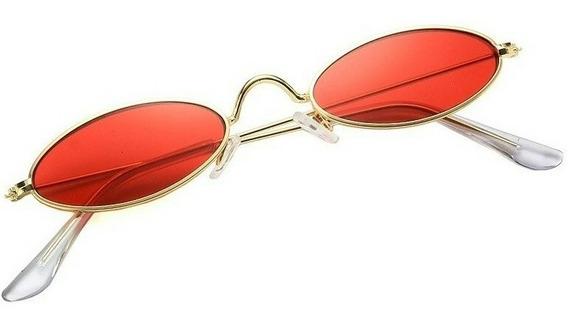 Óculos Oval Fino De Sol Pequeno Lente Vermelha Estilo