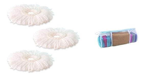 Refil De Esfregao Kit Com 3 Unidades P Limpeza Mop