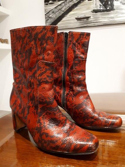 Botas Cuero Reptil Rojo