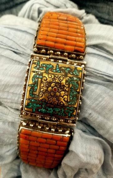 Tibet Silver / Gold / Coral Ceremonial Bracelet