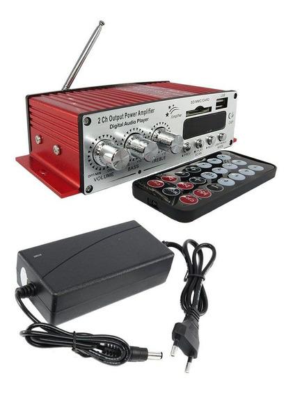 Receiver Amplificador Potencia 2 Canais Som Sd Usb Radio Fm