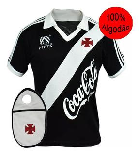 Camisa Retrô Vasco Da Gama 1988 Preta 100% Algodão + Brinde