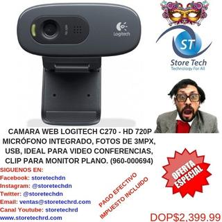 Camara Web Logitech C270 - Hd 720p Micrófono Integrado, Fot