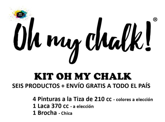 Kit Oh My Chalk - 4 Pinturas + 1 Laca + 1 Brocha - E. Gratis