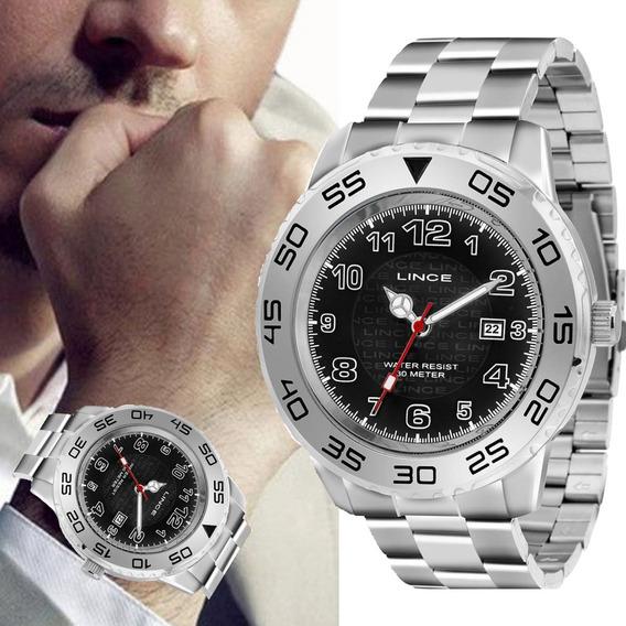 Relógio Masculino Lince Grande Prateado Original Mrm4335l P2sx