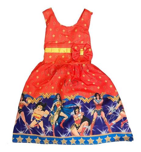 Vestido De Festa Infantil Temático Mulher Maravilha