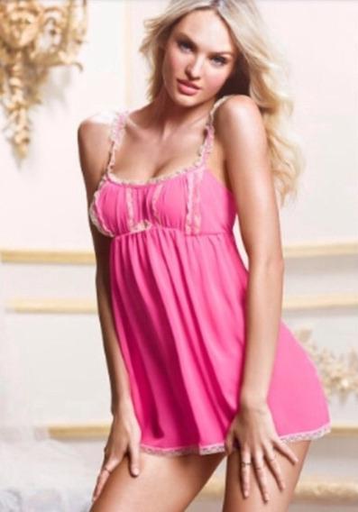 Baby Doll Victoria Secret Lencería Rosa Sexy Con Encaje