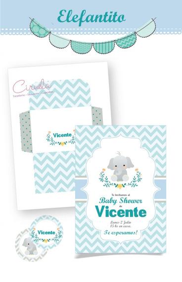 Invitaciones P/imprimir Elefantito Celeste Con Sobres
