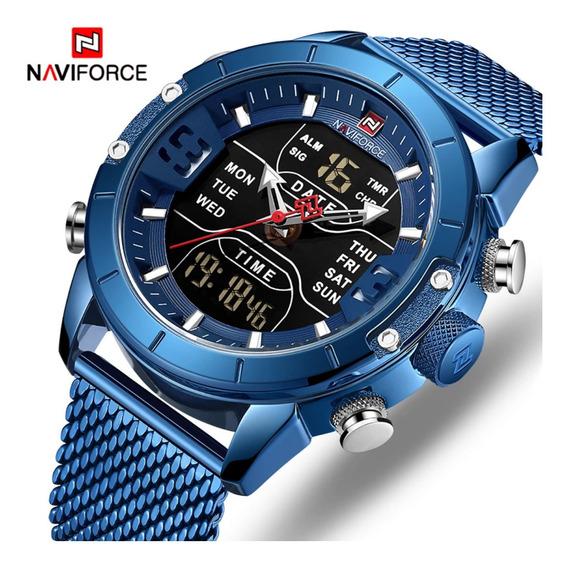 Relógio Naviforce De Luxo Com Pulseira Em Malha De Aço
