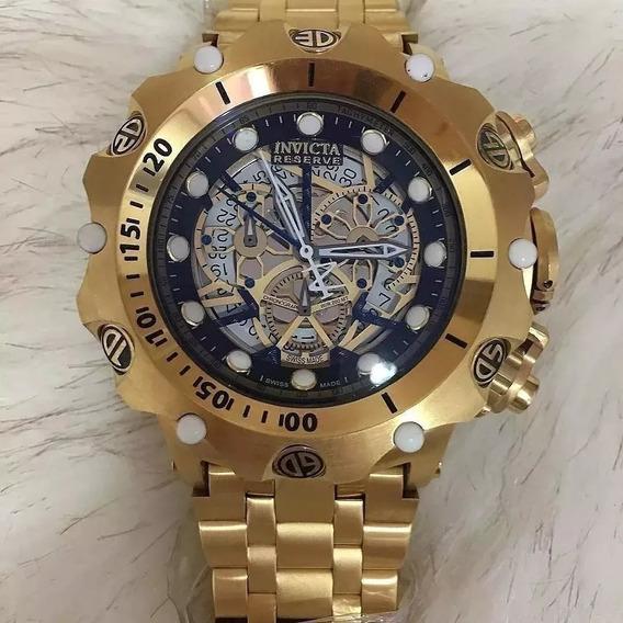 Relógio Pls5698 Invicta 16855 Hybrid Esqueleton Dourado Com Fundo Preto Frete Gratis Com Caixa E Manual
