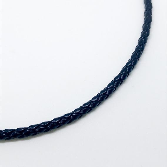 Colar Cordão 40cm Couro Trançado Fecho Em Prata Legitima 3mm
