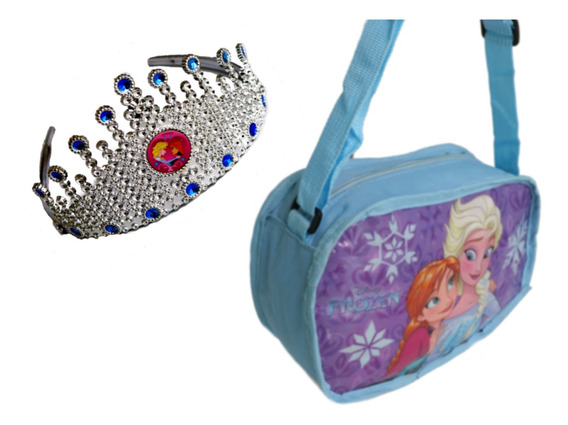Kit Bolsinha Infantil + Tiara Cabelos Princesas Frozen