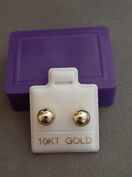 Broqueles De Bolita #3 Oro De 10 Kilates