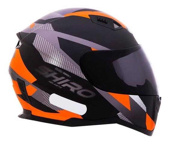 Capacete Shiro Sh881 Brno Preto Fosco/laranja Rs1