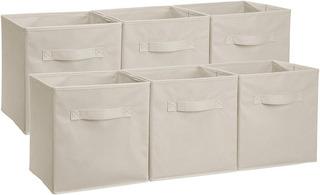 Set 6 Basic Organizadores Cubos Plegables Contenedor Beige