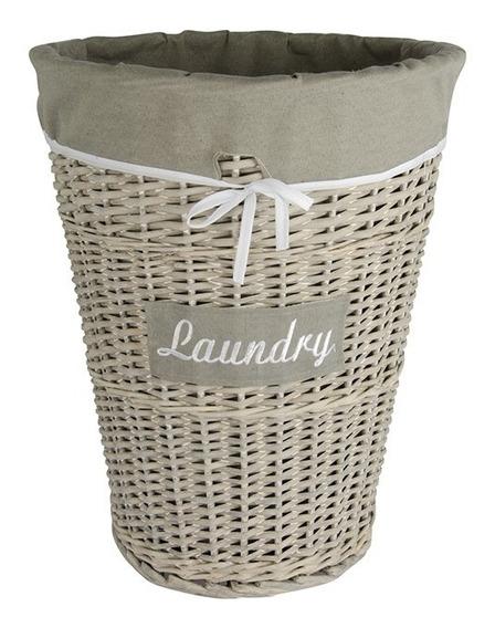 Cesto De Roupa Revestido Em Tecido Mundiart Laundry Cinza