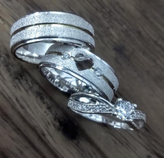 Alianças De Prata Coração Vazado Fio De Ouro +anel Solitário