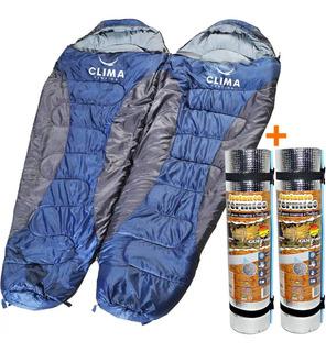 Saco De Dormir Casal Clima -5°c +18ºc + 2 Isolante Térmico