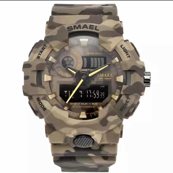 Relógio Masculino Smael Camuflado Shock Militar Exército