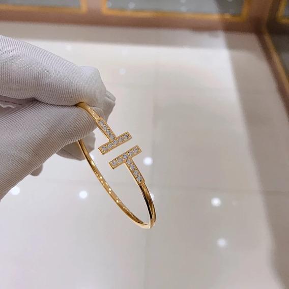 Pulseira Tiff Wire Pedras Ouro Com Embalagem Bracelete