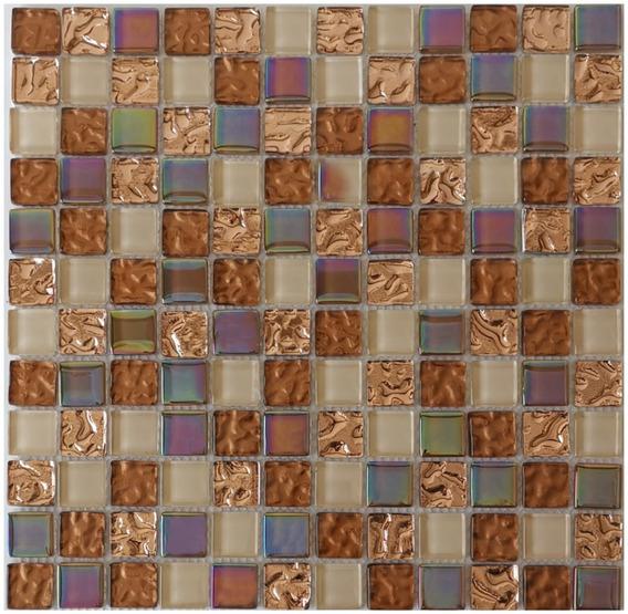 1x Malla Mosaico Decorativa Cenefa Vidrio Brasil Beige
