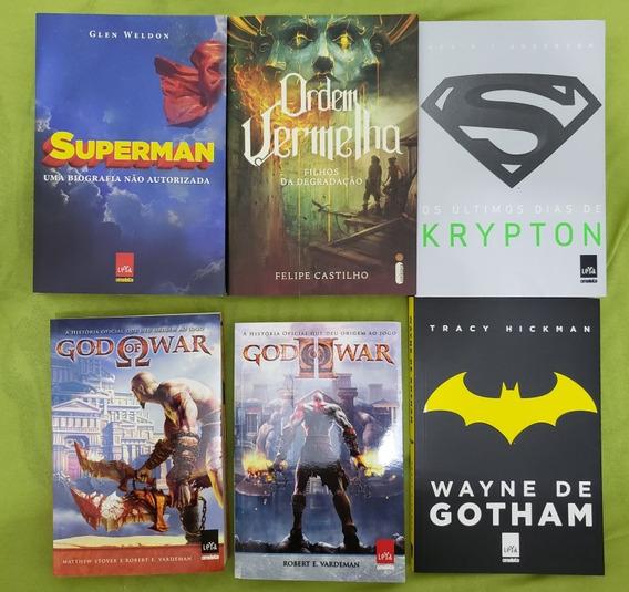 6 Livros: Superman, Batman, Gos Of War E Ordem Vermelho