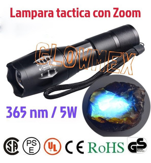 Lampara Tactica Uv Ultravioleta 365 Nm Con Zoom