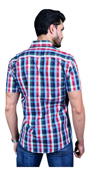 Camisa Porto Blanco Hombre Algodón Roja Manga Corta