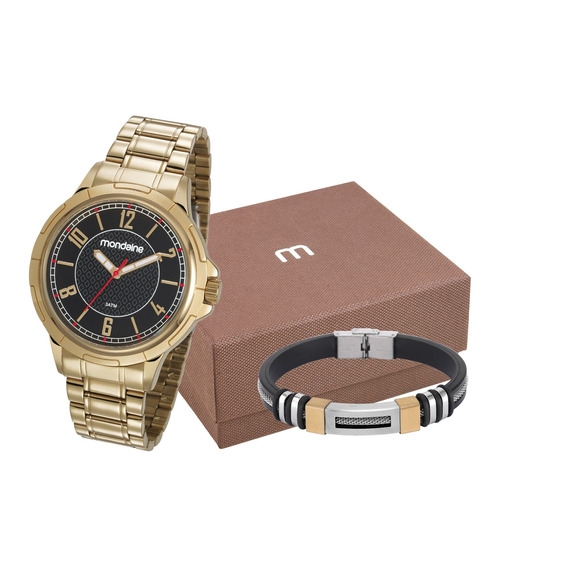 Relógio Mondaine Masculino Dourado + Pulseira 83440gpmvde2