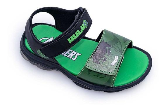 Sandalias Agua Marvel Hulk Verde Con Luces Fty Calzados
