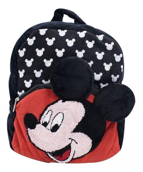 Mochila Infantil Preta Mickey Pelúcia Disney Original Linda