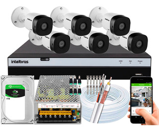 Kit Cftv 6 Câmeras Intelbras 20m 1220b Full Hd 1080p 2mp 10a