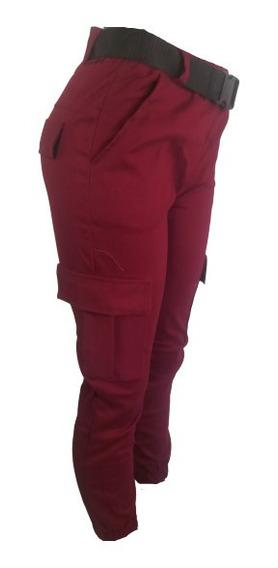 Pantalón Jogger Mujer Cargo Vino Y Otros Colores