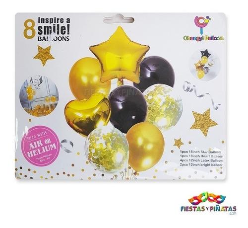 Imagen 1 de 1 de Set 8 Globos Metalizados Estrella Corazón Dorado Bouquet
