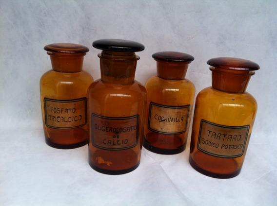Frascos De Farmacia Antiguos Ambar, Vintage Varias Medidas