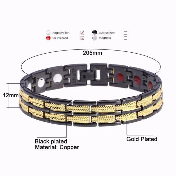 Pulseira Magnética Titânio + Germânio Detalhes Ouro 18k