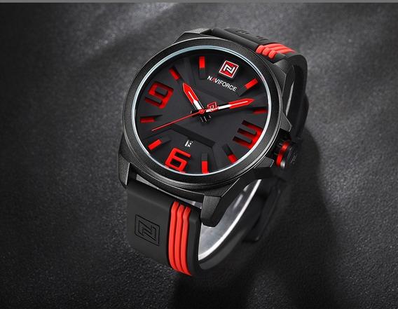 Relógio Naviforce Esporte Masculino Original Nf9098 Vermelho