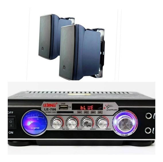 Kit Som Ambiente 2 Caixas Jbl 60w + Amplificador Bluetooth