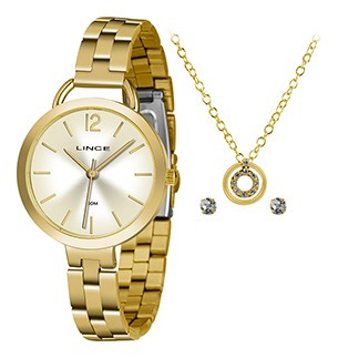 Kit Relógio Fem Lince Puls Aço Inox 50m Lrgh105l-kw62c2kx