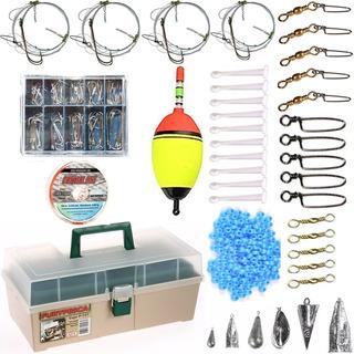 Kit Caja De Pesca Completa Variada Lineas Lista Para Pescar! Anzuelos Perlas Plomadas Boya Rotores