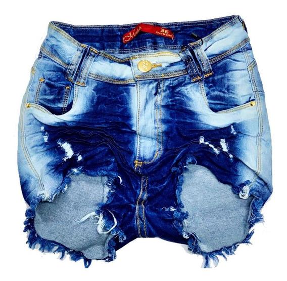 Short Bermuda Jeans Feminina Levanta Bumbum Cintura Alta