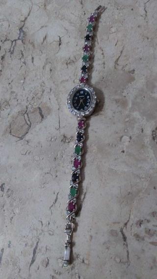 Belíssimo Relógio Feminino Em Prata E Pedras Preciosas.