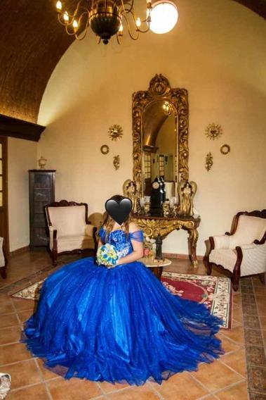 Vestido De Xv Años Azul Rey, Strapless, Tipo Corset.