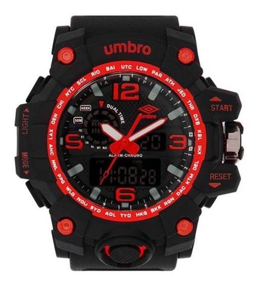 Relógio Masculino Esportivo Preto E Vermelho Umbro Umb-010-4
