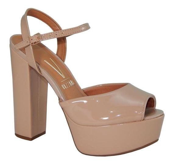 Sapato Peep Toe Salto Grosso Vizzano Camurça E Verniz .