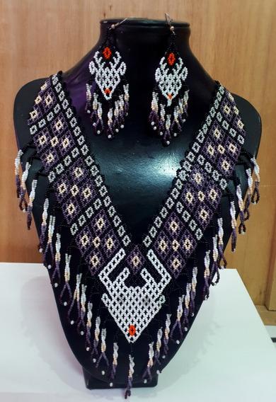 Collar De Venado En Color Morado/artesanía Huichol