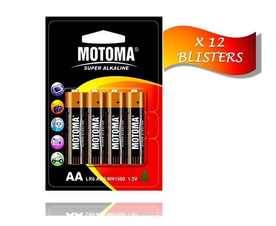 Pila Batería Alcalina A A 1.5 V Motoma Pack 12 Blisters 48 U