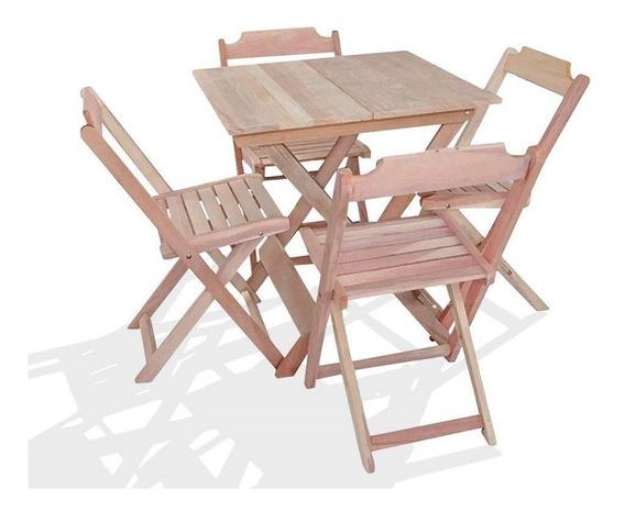 Conjunto De Mesa 60x60 De Madeira Com 4 Cadeira Dobrável