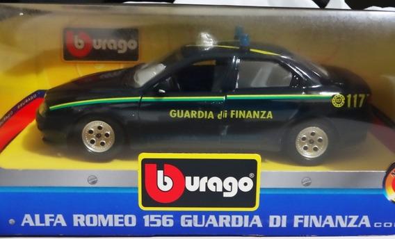 Miniatura Burago Carro Alfa Romeo Policia Italia Escala 1/24